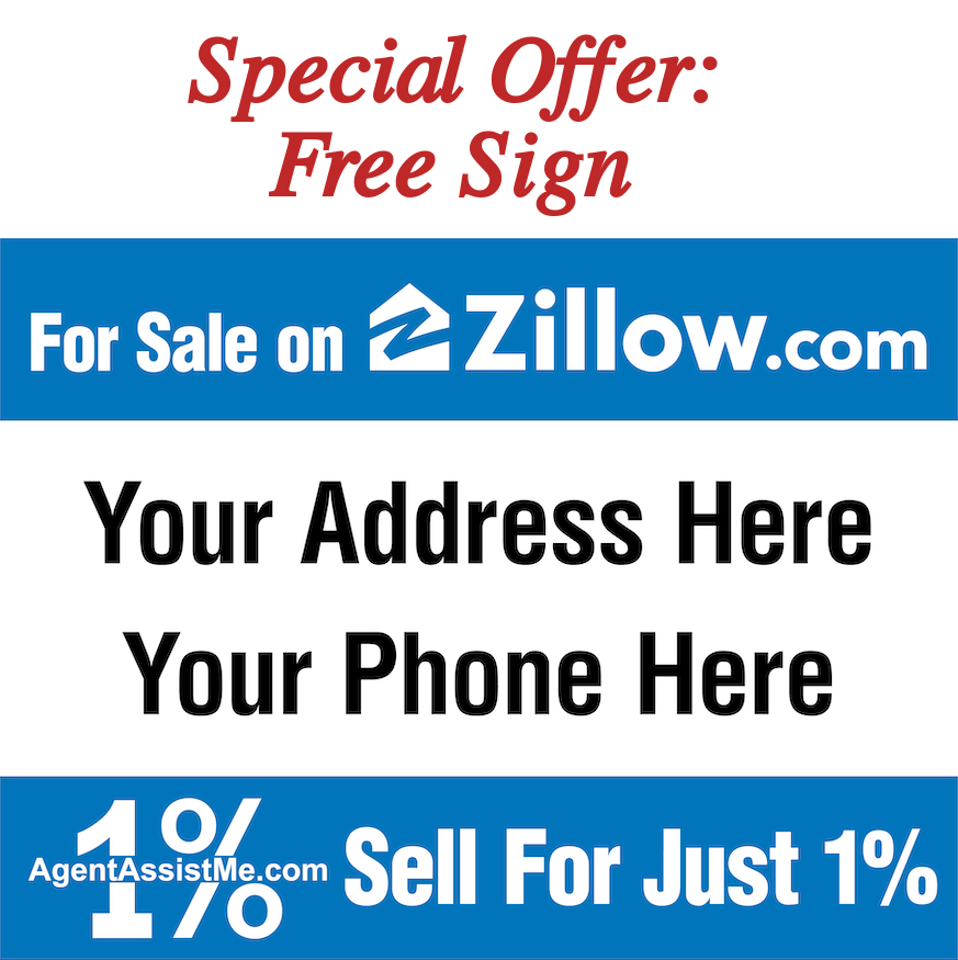 Sample homefront for sale sign saying For Sale on Zillow, Sell for just 1%, insert your address and phone number here