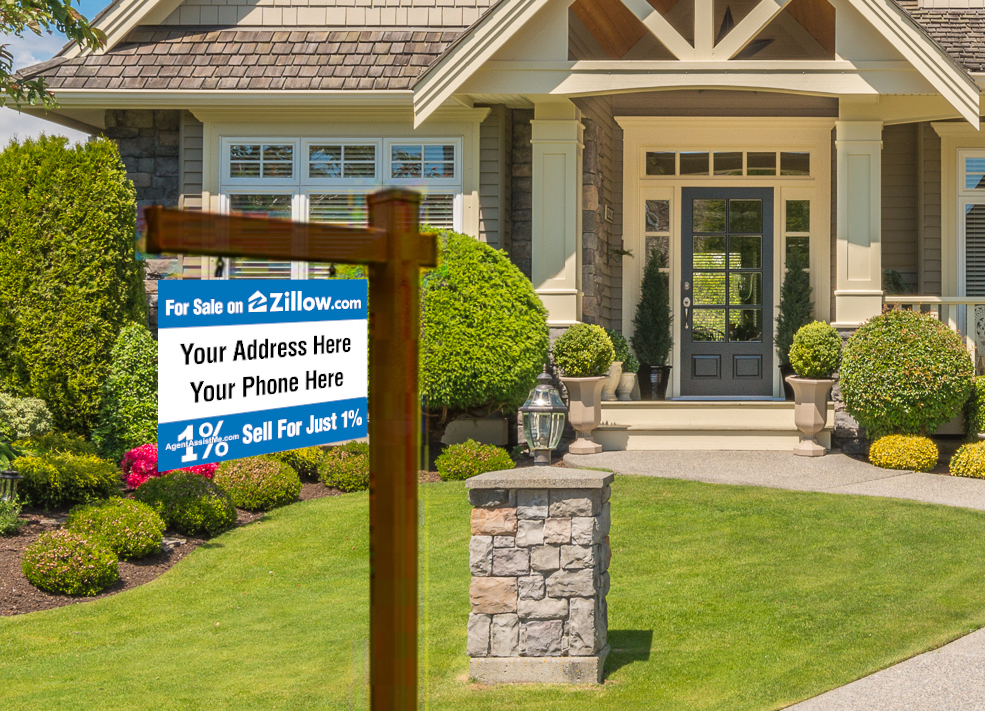 Postcard home with sign saying For Sale on Zillow Sell for just 1%